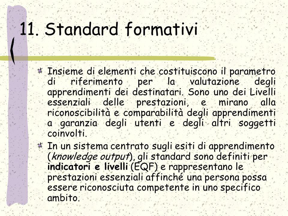 11. Standard formativi Insieme di elementi che costituiscono il parametro di riferimento per la valutazione degli apprendimenti dei destinatari. Sono