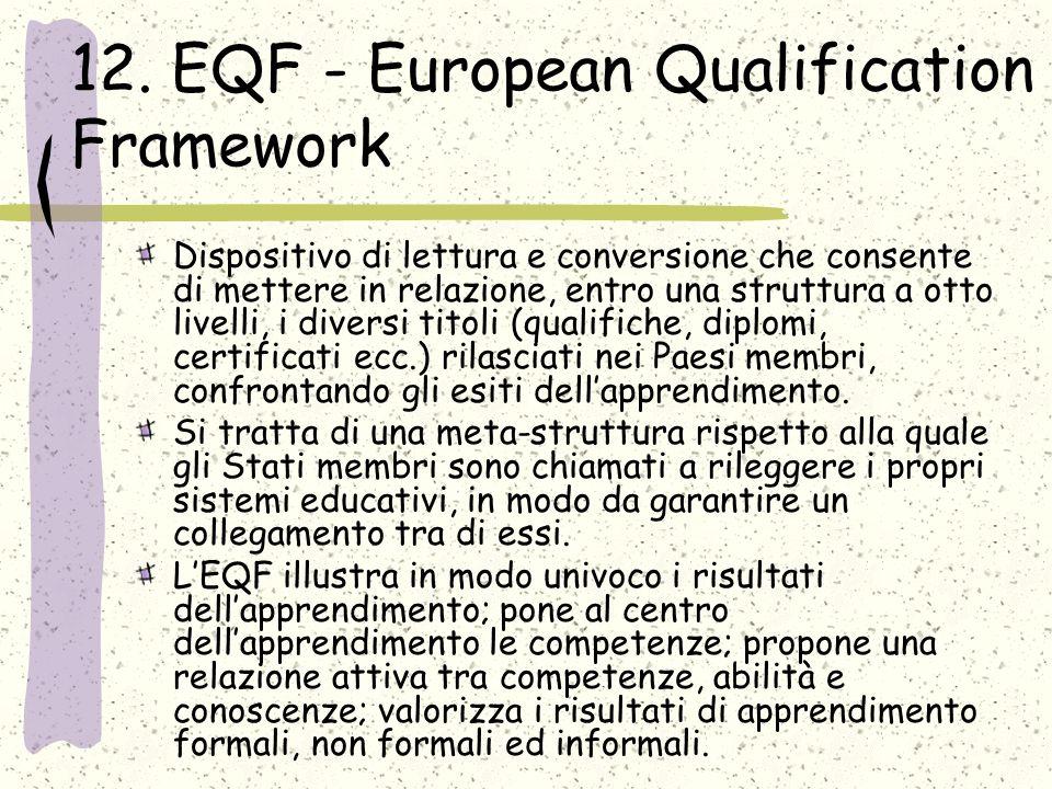 12. EQF - European Qualification Framework Dispositivo di lettura e conversione che consente di mettere in relazione, entro una struttura a otto livel