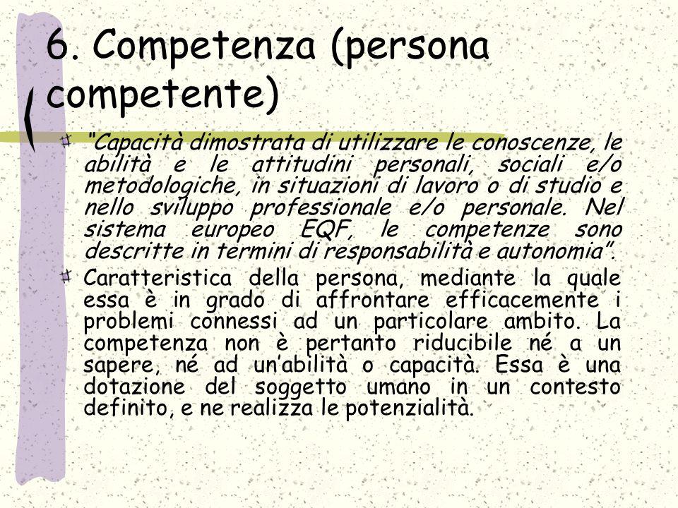 6. Competenza (persona competente) Capacità dimostrata di utilizzare le conoscenze, le abilità e le attitudini personali, sociali e/o metodologiche, i