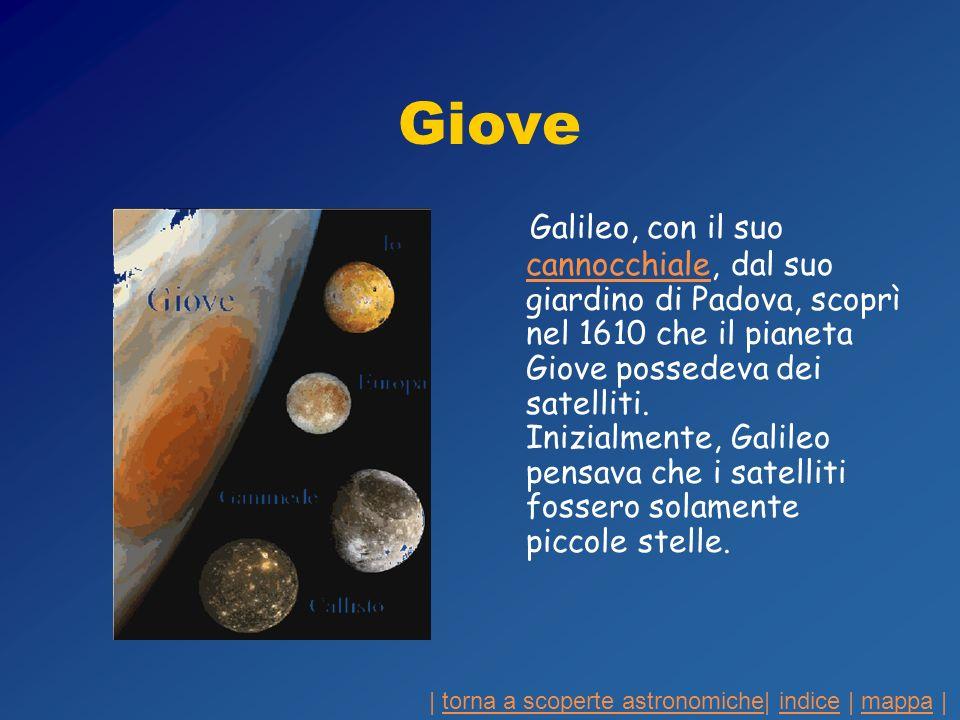 Giove Galileo, con il suo cannocchiale, dal suo giardino di Padova, scoprì nel 1610 che il pianeta Giove possedeva dei satelliti. Inizialmente, Galile