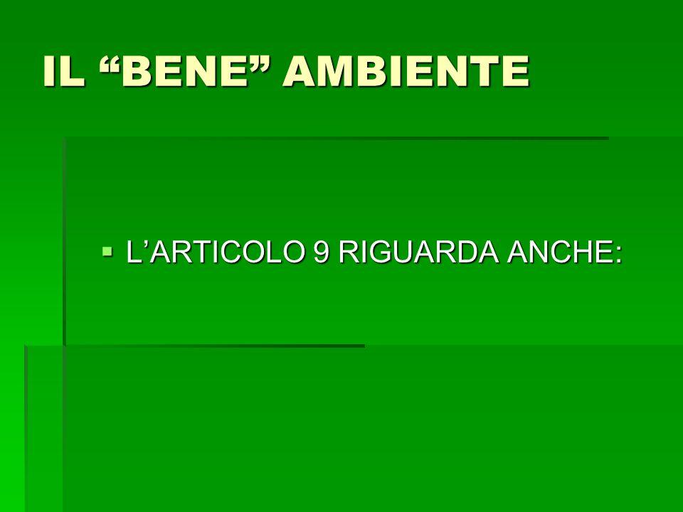 IL BENE AMBIENTE LARTICOLO 9 RIGUARDA ANCHE: LARTICOLO 9 RIGUARDA ANCHE: