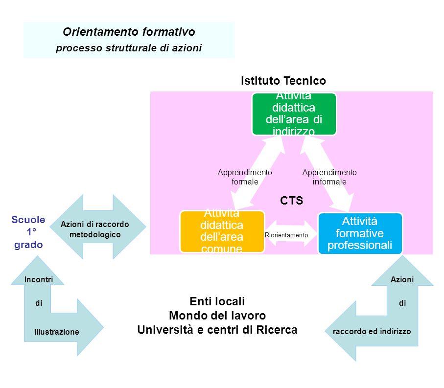Orientamento formativo processo strutturale di azioni Attività didattica dellarea di indirizzo Attività formative professionali Attività didattica del