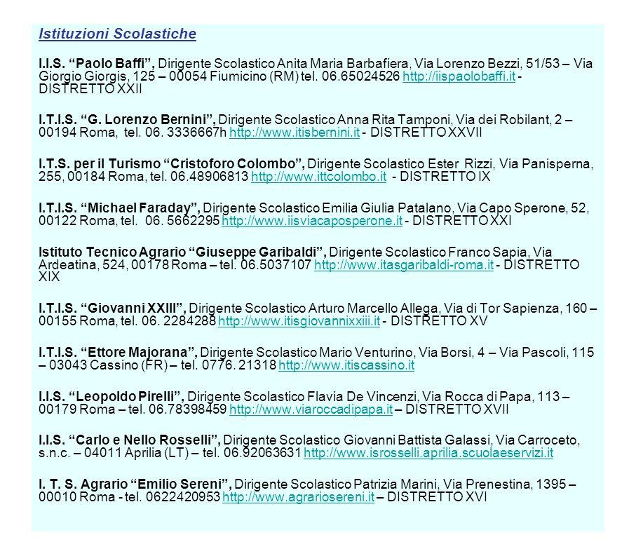 Istituzioni Scolastiche I.I.S. Paolo Baffi, Dirigente Scolastico Anita Maria Barbafiera, Via Lorenzo Bezzi, 51/53 – Via Giorgio Giorgis, 125 – 00054 F