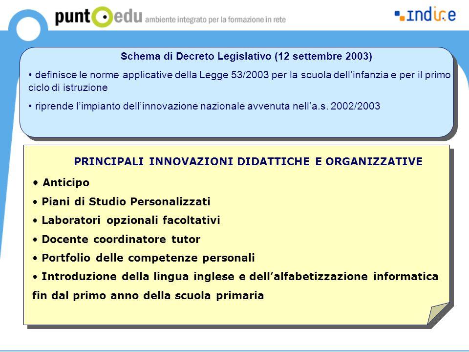Schema di Decreto Legislativo (12 settembre 2003) definisce le norme applicative della Legge 53/2003 per la scuola dellinfanzia e per il primo ciclo d