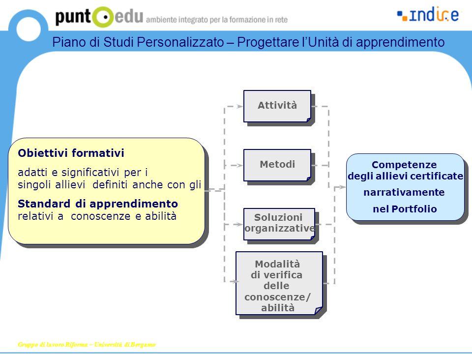 Gruppo di lavoro Riforma – Università di Bergamo Obiettivi formativi adatti e significativi per i singoli allievi definiti anche con gli Standard di a