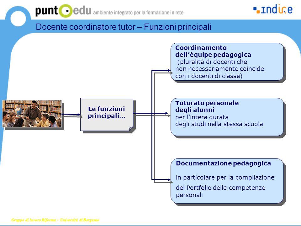 Coordinamento delléquipe pedagogica (pluralità di docenti che non necessariamente coincide con i docenti di classe) Tutorato personale degli alunni pe