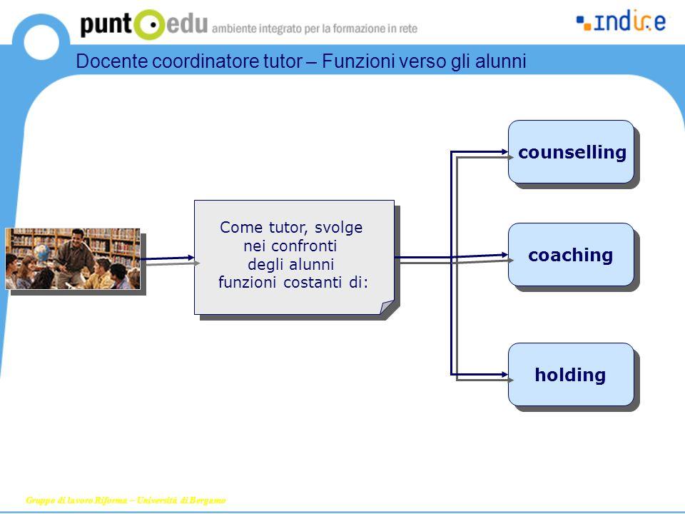 counselling coaching holding Come tutor, svolge nei confronti degli alunni funzioni costanti di: Gruppo di lavoro Riforma – Università di Bergamo Doce