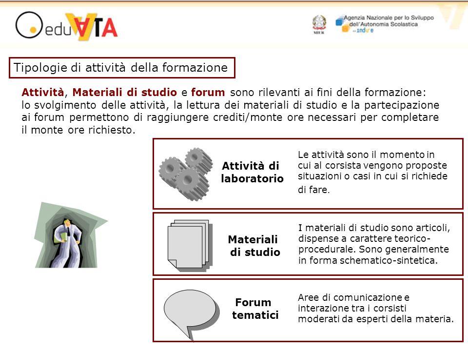 Attività, Materiali di studio e forum sono rilevanti ai fini della formazione: lo svolgimento delle attività, la lettura dei materiali di studio e la