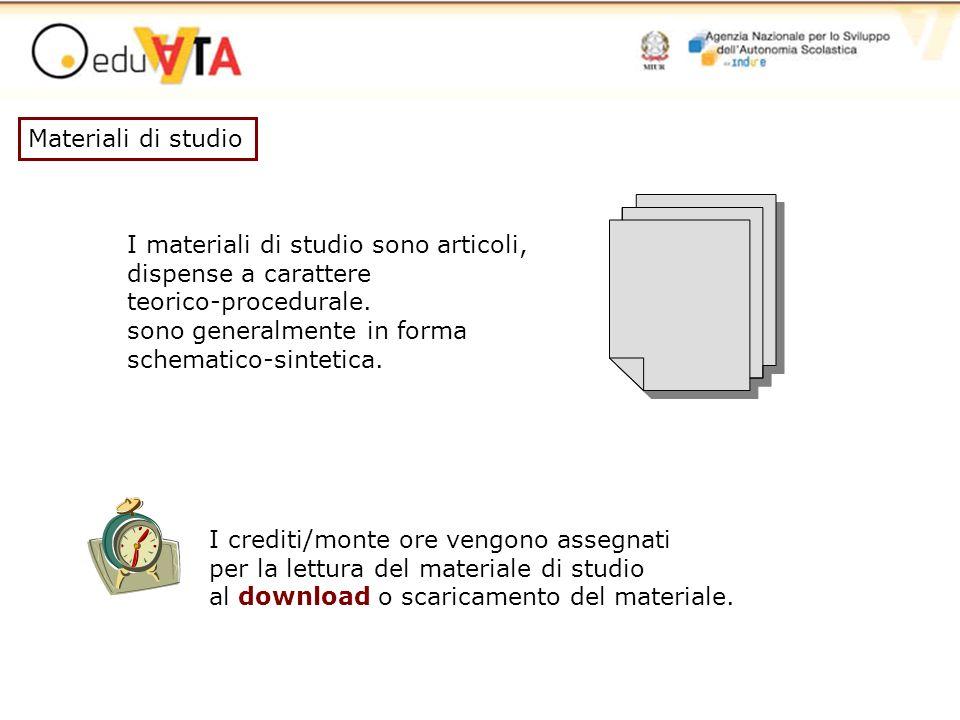 Materiali di studio I materiali di studio sono articoli, dispense a carattere teorico-procedurale. sono generalmente in forma schematico-sintetica. I