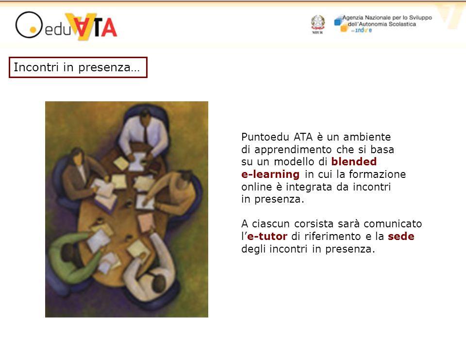 Puntoedu ATA è un ambiente di apprendimento che si basa su un modello di blended e-learning in cui la formazione online è integrata da incontri in pre
