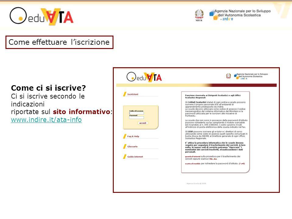 Come ci si iscrive? Ci si iscrive secondo le indicazioni riportate sul sito informativo: www.indire.it/ata-info Come effettuare liscrizione
