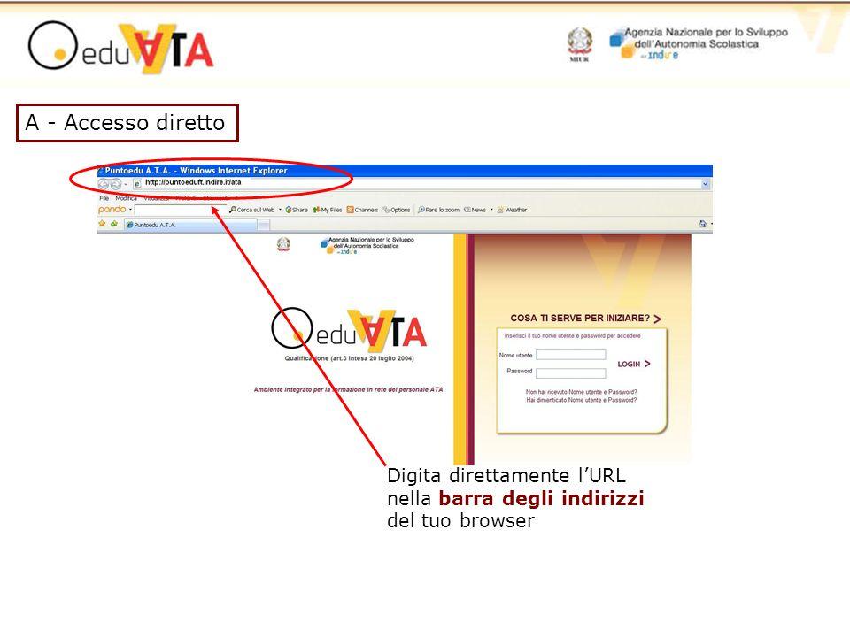 A - Accesso diretto Digita direttamente lURL nella barra degli indirizzi del tuo browser