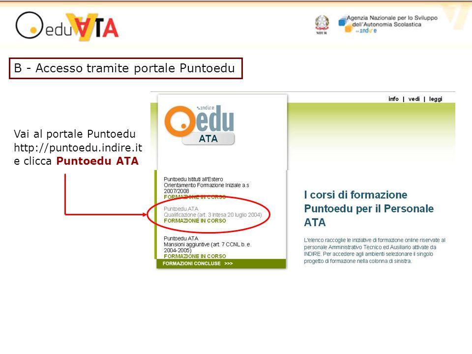 Vai al portale Puntoedu http://puntoedu.indire.it e clicca Puntoedu ATA B - Accesso tramite portale Puntoedu