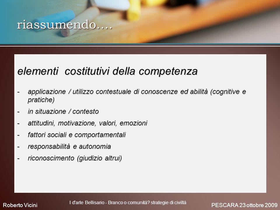 riassumendo…. elementi costitutivi della competenza -applicazione / utilizzo contestuale di conoscenze ed abilità (cognitive e pratiche) -in situazion
