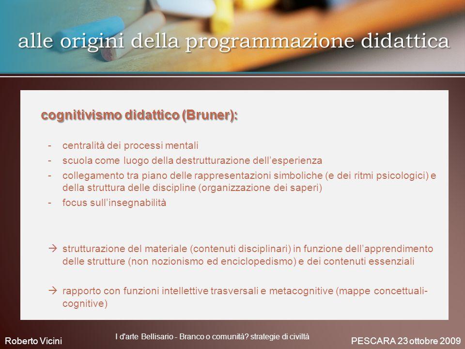 alle origini della programmazione didattica alle origini della programmazione didattica cognitivismo didattico (Bruner): cognitivismo didattico (Brune