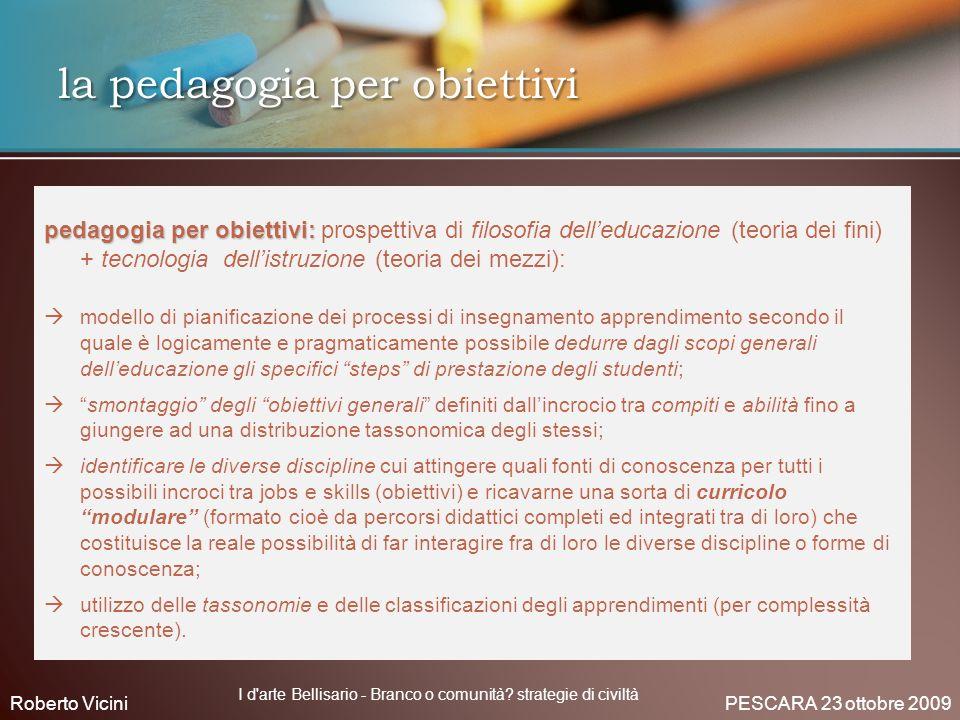 pedagogia per obiettivi: pedagogia per obiettivi: prospettiva di filosofia delleducazione (teoria dei fini) + tecnologia dellistruzione (teoria dei me