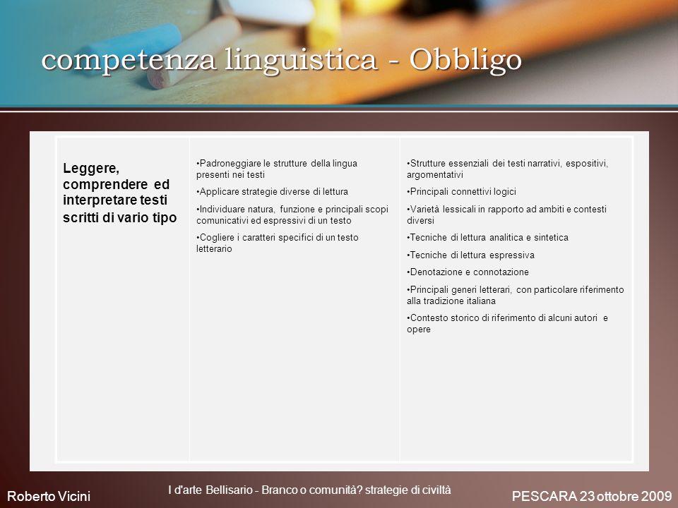 competenza linguistica - Obbligo Leggere, comprendere ed interpretare testi scritti di vario tipo Padroneggiare le strutture della lingua presenti nei