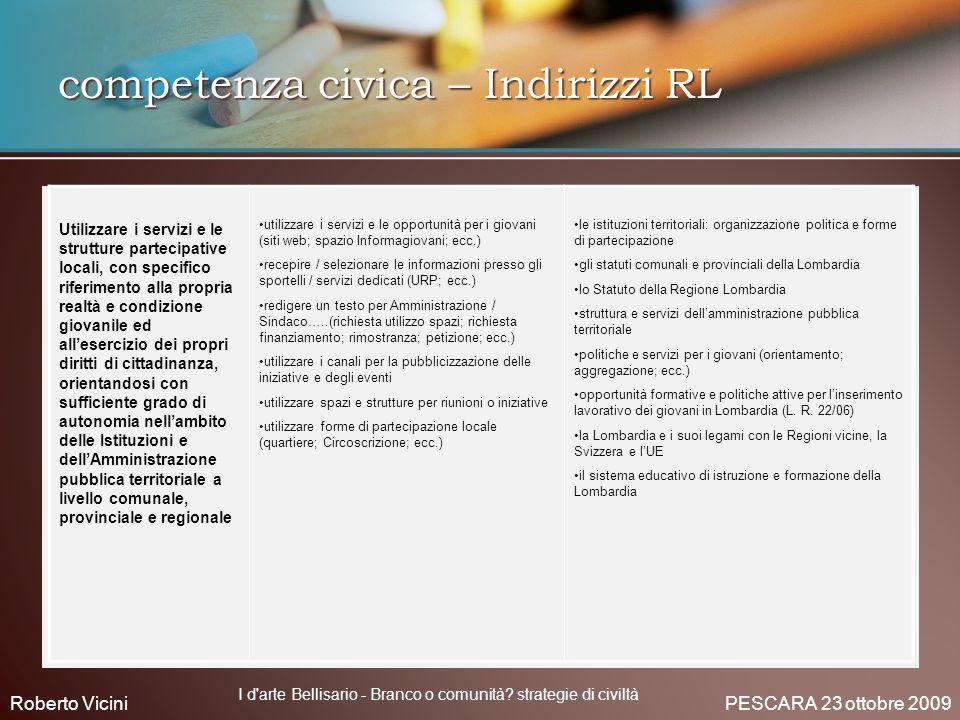 competenza civica – Indirizzi RL Utilizzare i servizi e le strutture partecipative locali, con specifico riferimento alla propria realtà e condizione