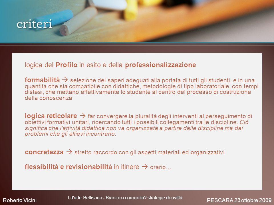 logica del Profilo in esito e della professionalizzazione formabilità selezione dei saperi adeguati alla portata di tutti gli studenti, e in una quant