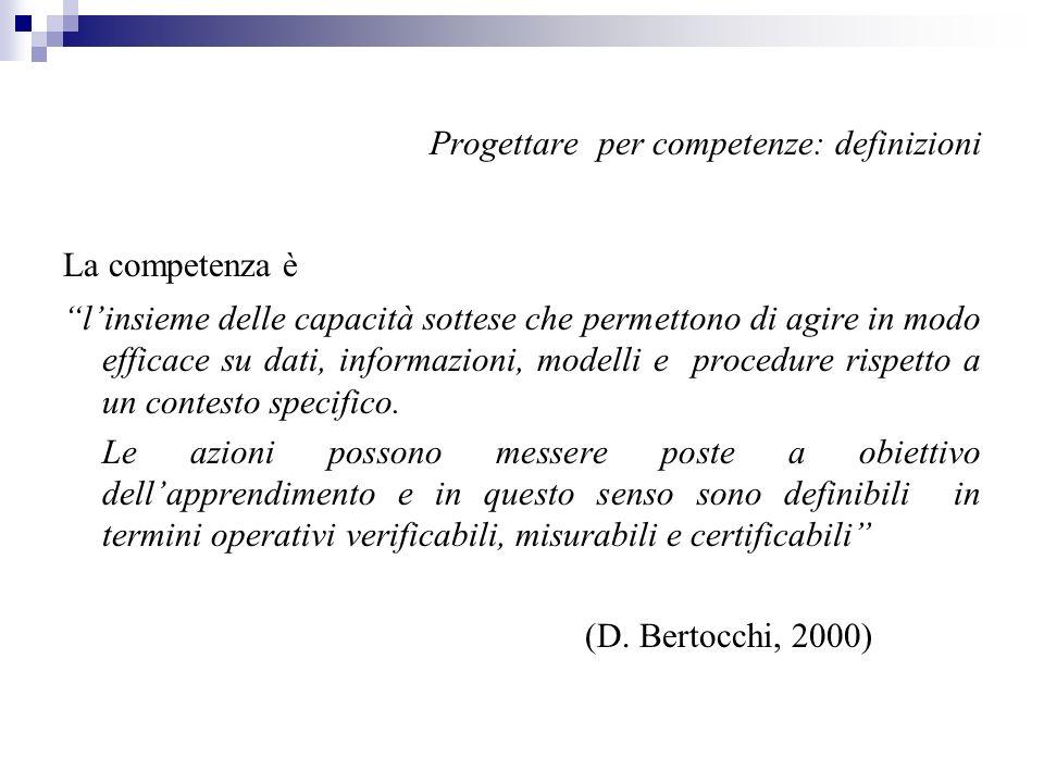 Progettare per competenze: definizioni La competenza è linsieme delle capacità sottese che permettono di agire in modo efficace su dati, informazioni,