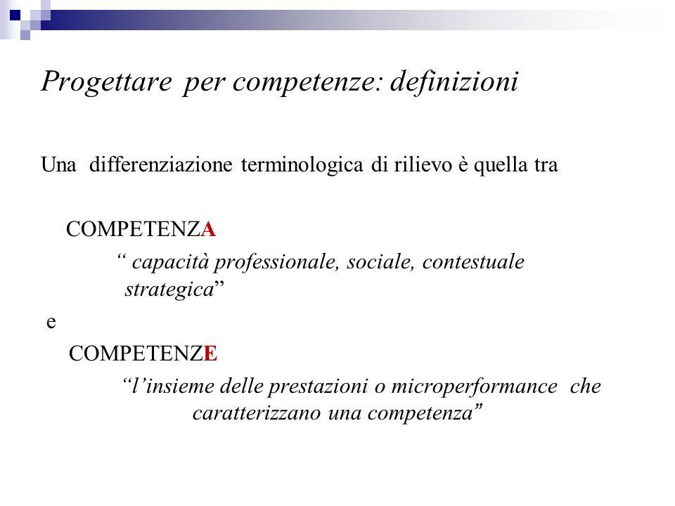 Progettare per competenze: definizioni Una differenziazione terminologica di rilievo è quella tra COMPETENZA capacità professionale, sociale, contestu
