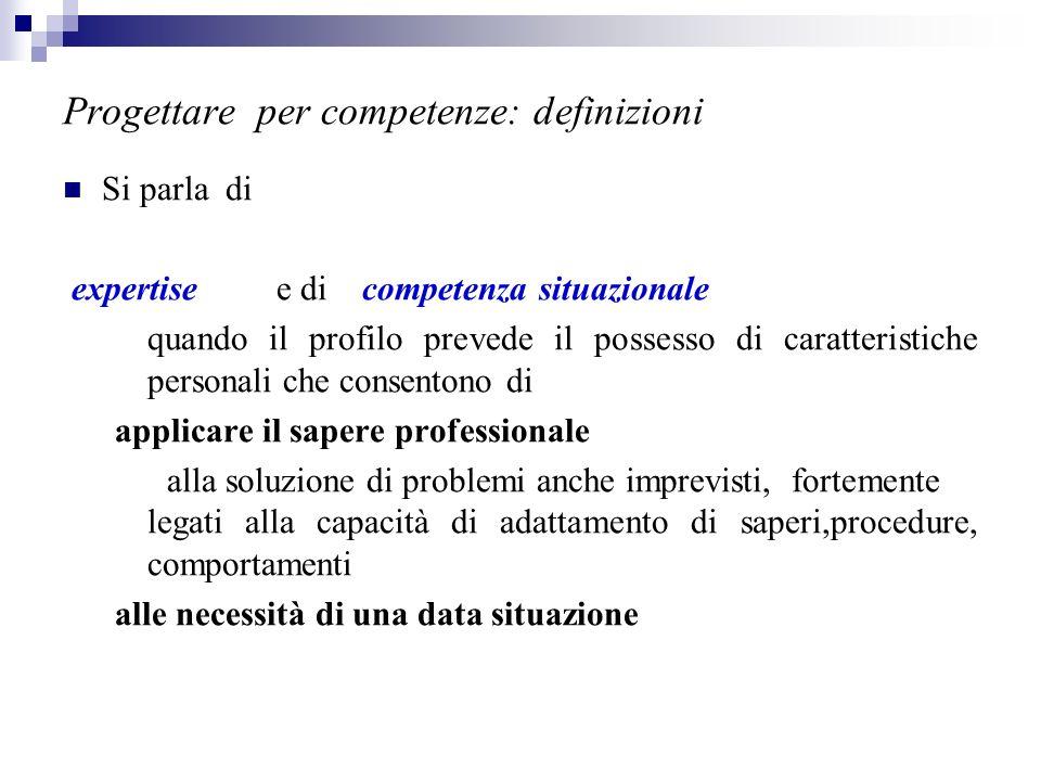 Progettare per competenze: definizioni Si parla di expertise e di competenza situazionale quando il profilo prevede il possesso di caratteristiche per