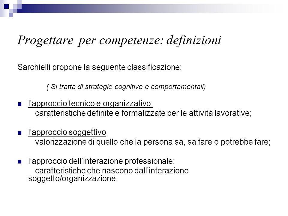 Progettare per competenze: definizioni Sarchielli propone la seguente classificazione: ( Si tratta di strategie cognitive e comportamentali) lapprocci