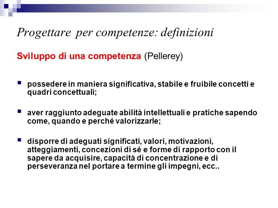 Progettare per competenze: definizioni Sviluppo di una competenza (Pellerey) possedere in maniera significativa, stabile e fruibile concetti e quadri