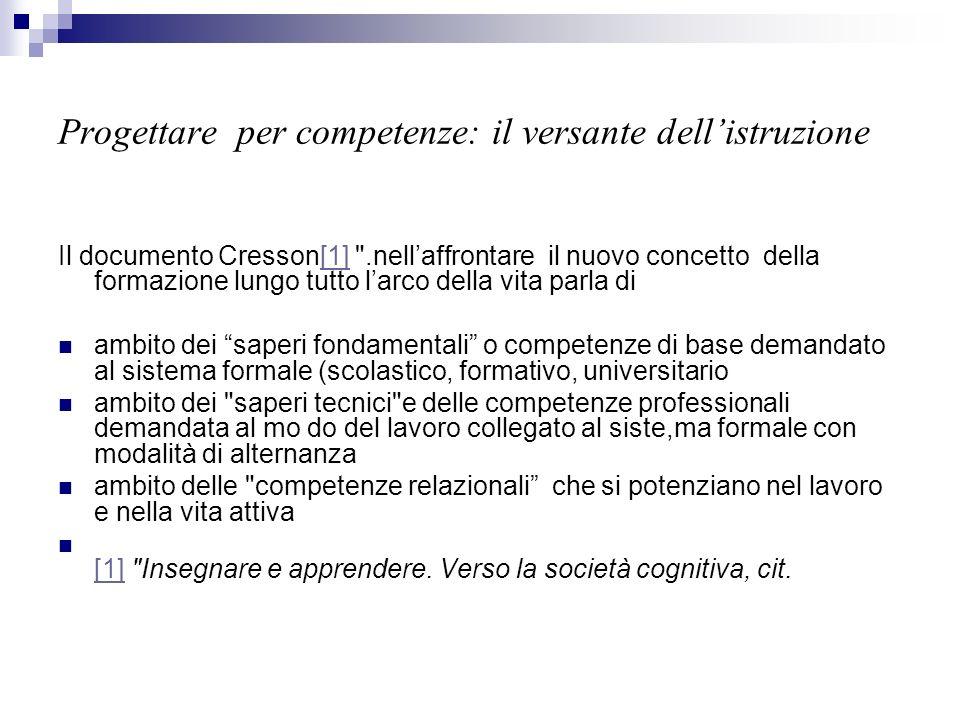 Progettare per competenze: il versante dellistruzione Il documento Cresson[1]
