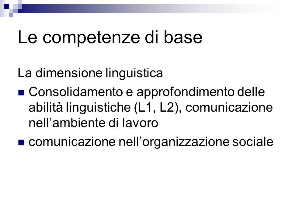 Le competenze di base La dimensione linguistica Consolidamento e approfondimento delle abilità linguistiche (L1, L2), comunicazione nellambiente di la