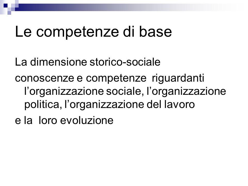 Le competenze di base La dimensione storico-sociale conoscenze e competenze riguardanti lorganizzazione sociale, lorganizzazione politica, lorganizzaz