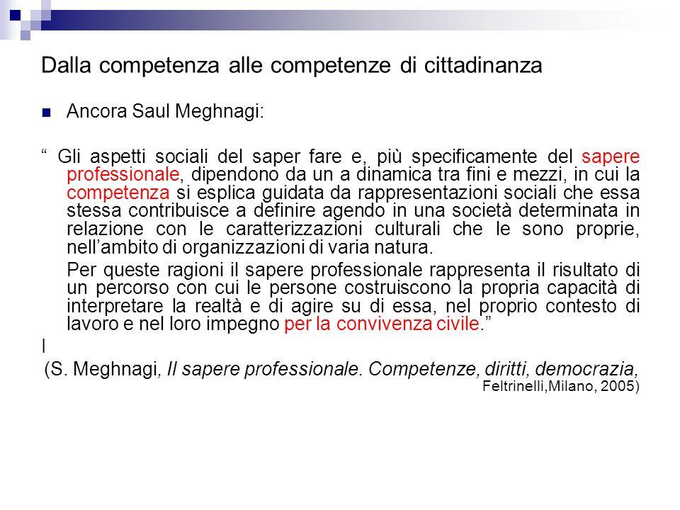 Dalla competenza alle competenze di cittadinanza Ancora Saul Meghnagi: Gli aspetti sociali del saper fare e, più specificamente del sapere professiona
