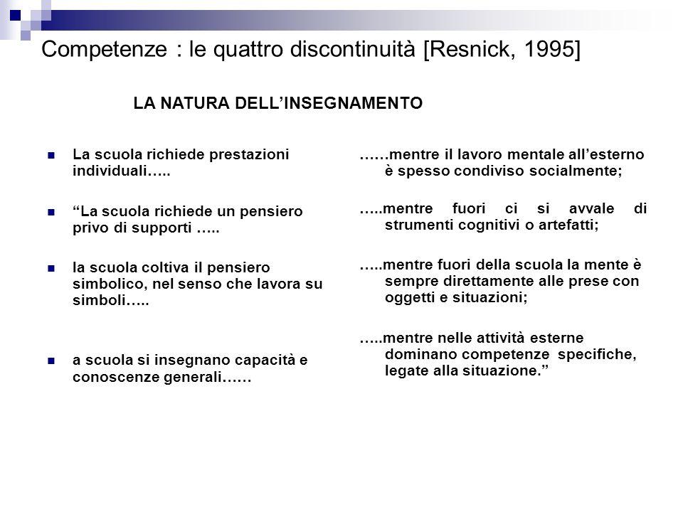 Competenze : le quattro discontinuità [Resnick, 1995] La scuola richiede prestazioni individuali….. La scuola richiede un pensiero privo di supporti …