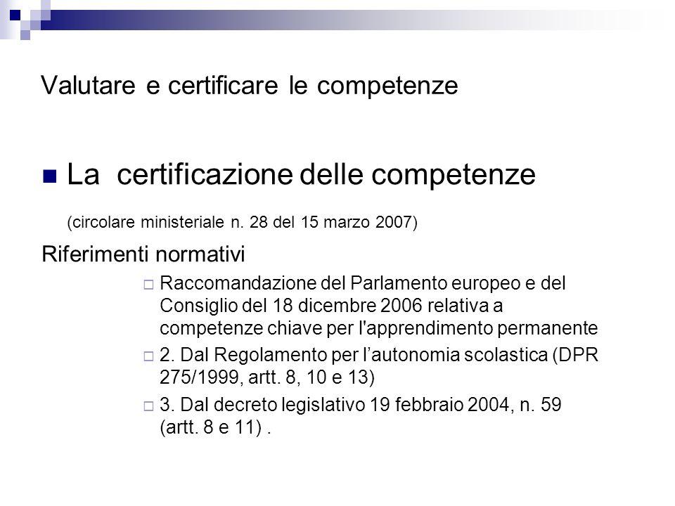 Valutare e certificare le competenze La certificazione delle competenze (circolare ministeriale n. 28 del 15 marzo 2007) Riferimenti normativi Raccoma
