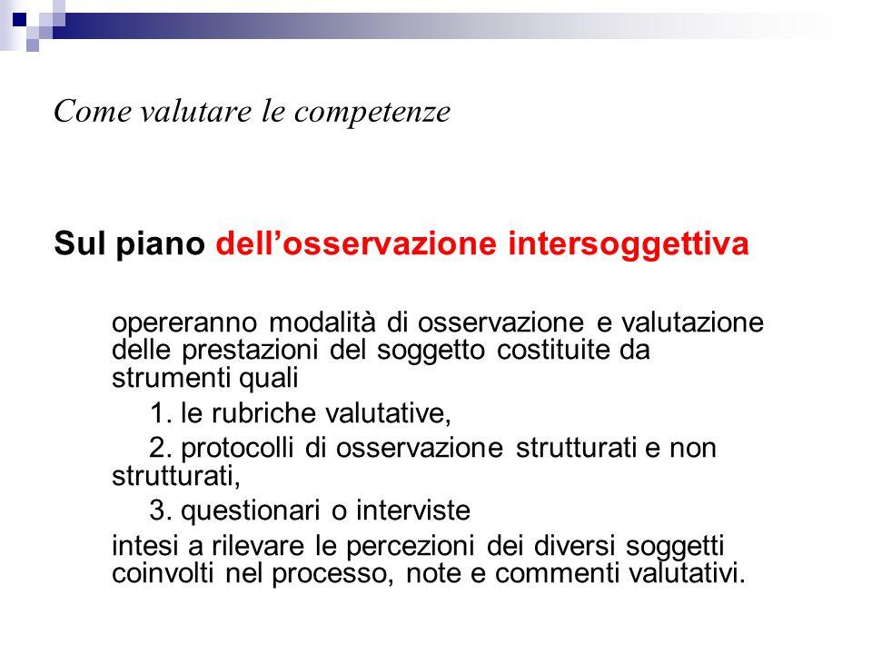 Come valutare le competenze Sul piano dellosservazione intersoggettiva opereranno modalità di osservazione e valutazione delle prestazioni del soggett