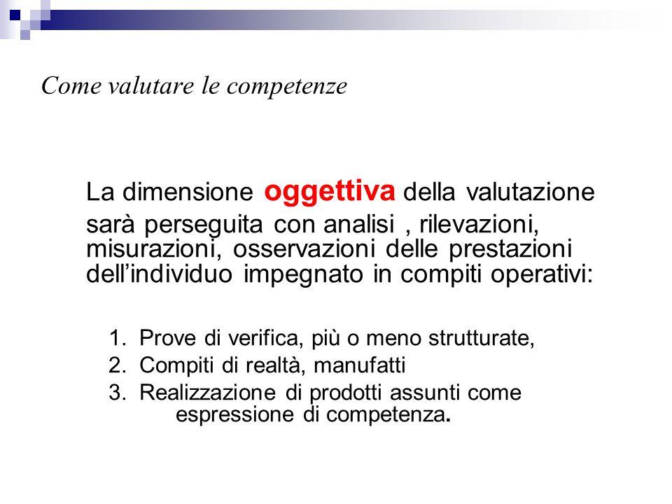 Come valutare le competenze La dimensione oggettiva della valutazione sarà perseguita con analisi, rilevazioni, misurazioni, osservazioni delle presta