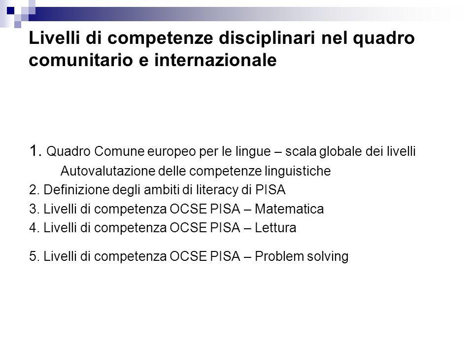 Livelli di competenze disciplinari nel quadro comunitario e internazionale 1. Quadro Comune europeo per le lingue – scala globale dei livelli Autovalu