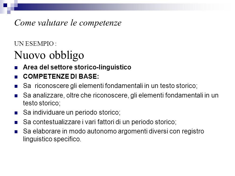 Come valutare le competenze UN ESEMPIO : Nuovo obbligo Area del settore storico-linguistico COMPETENZE DI BASE: Sa riconoscere gli elementi fondamenta