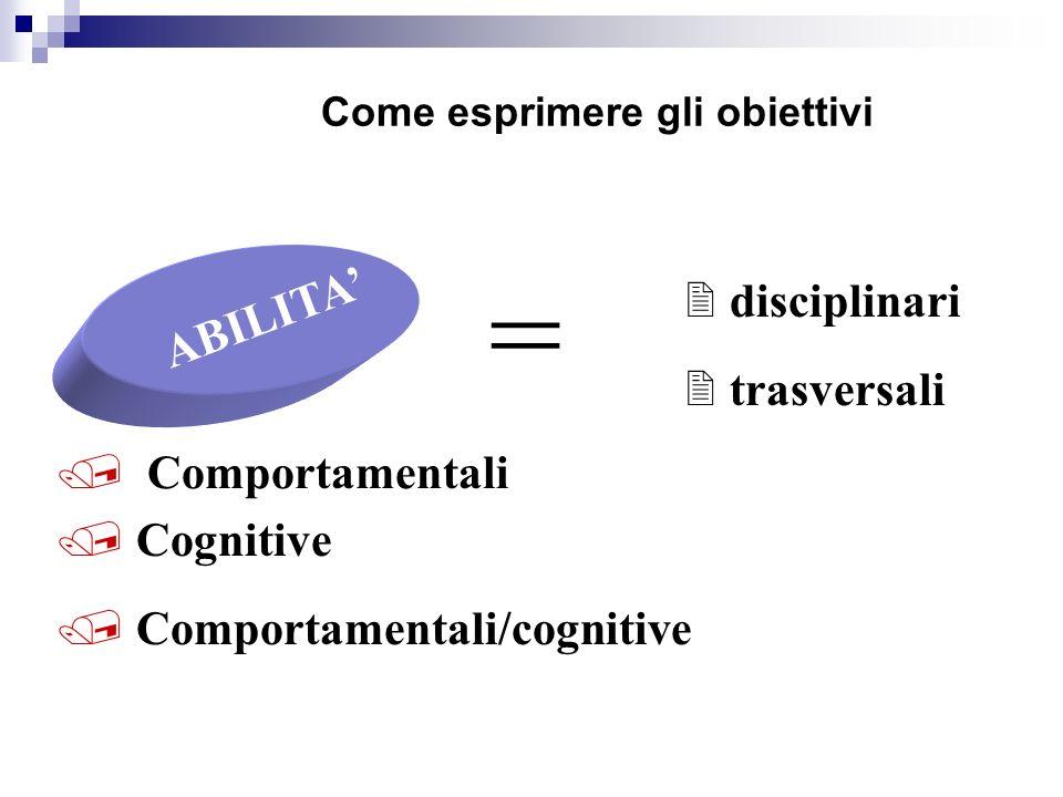 Come esprimere gli obiettivi ABILITA = / Comportamentali / Comportamentali/cognitive / Cognitive 2 disciplinari 2 trasversali