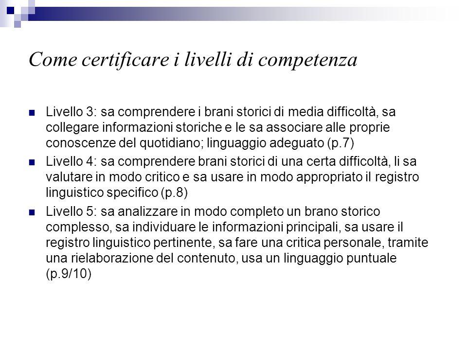 Come certificare i livelli di competenza Livello 3: sa comprendere i brani storici di media difficoltà, sa collegare informazioni storiche e le sa ass