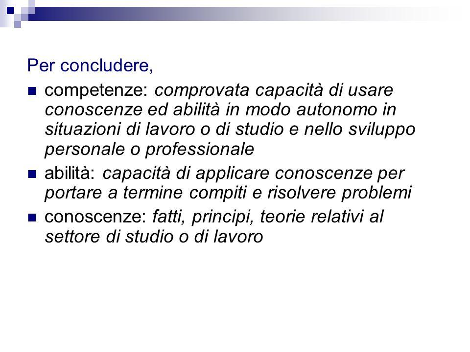 Per concludere, competenze: comprovata capacità di usare conoscenze ed abilità in modo autonomo in situazioni di lavoro o di studio e nello sviluppo p
