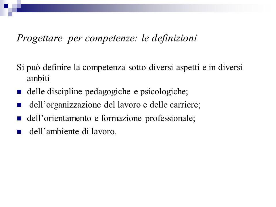 Progettare per competenze: le definizioni Si può definire la competenza sotto diversi aspetti e in diversi ambiti delle discipline pedagogiche e psico