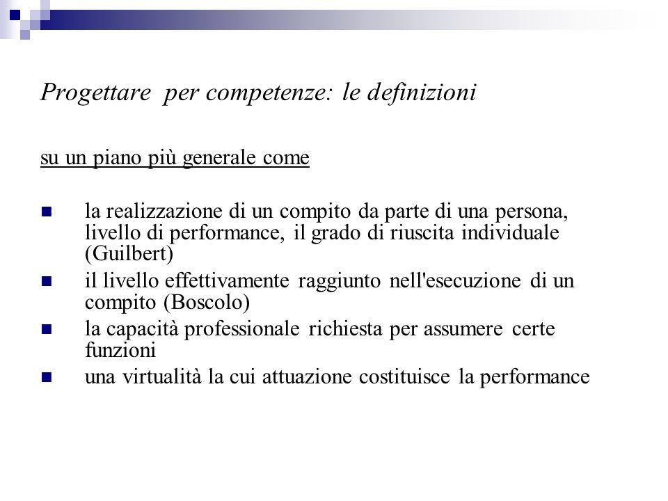 Progettare per competenze: le definizioni su un piano più generale come la realizzazione di un compito da parte di una persona, livello di performance