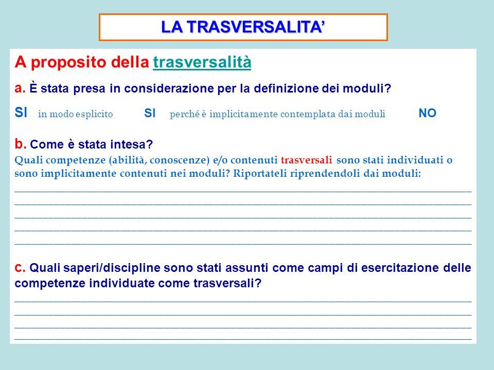 LA TRASVERSALITA A proposito della trasversalità a. È stata presa in considerazione per la definizione dei moduli? SI in modo esplicito SI perché è im