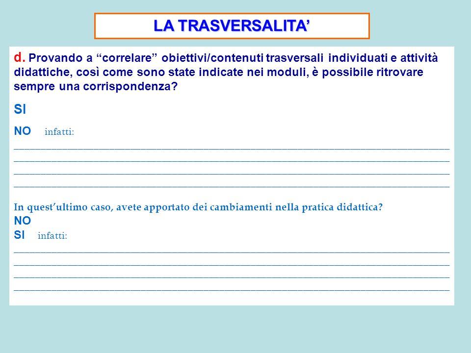 LA TRASVERSALITA d. Provando a correlare obiettivi/contenuti trasversali individuati e attività didattiche, così come sono state indicate nei moduli,