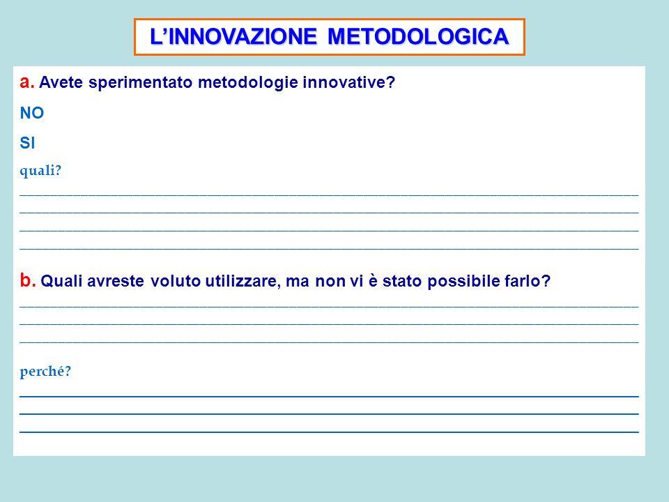 LINNOVAZIONE METODOLOGICA a. Avete sperimentato metodologie innovative? NO SI quali? _________________________________________________________________