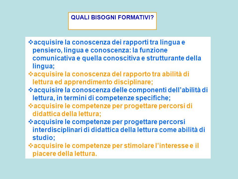 acquisire la conoscenza dei rapporti tra lingua e pensiero, lingua e conoscenza: la funzione comunicativa e quella conoscitiva e strutturante della li