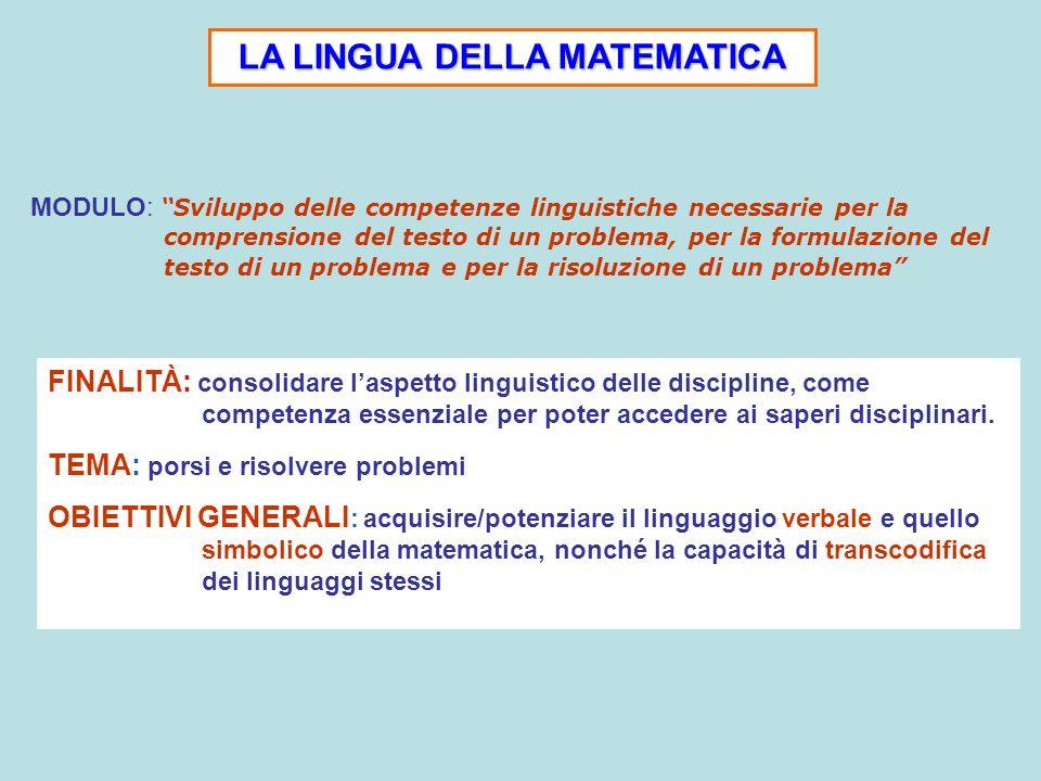 LA LINGUA DELLA MATEMATICA FINALITÀ: consolidare laspetto linguistico delle discipline, come competenza essenziale per poter accedere ai saperi discip