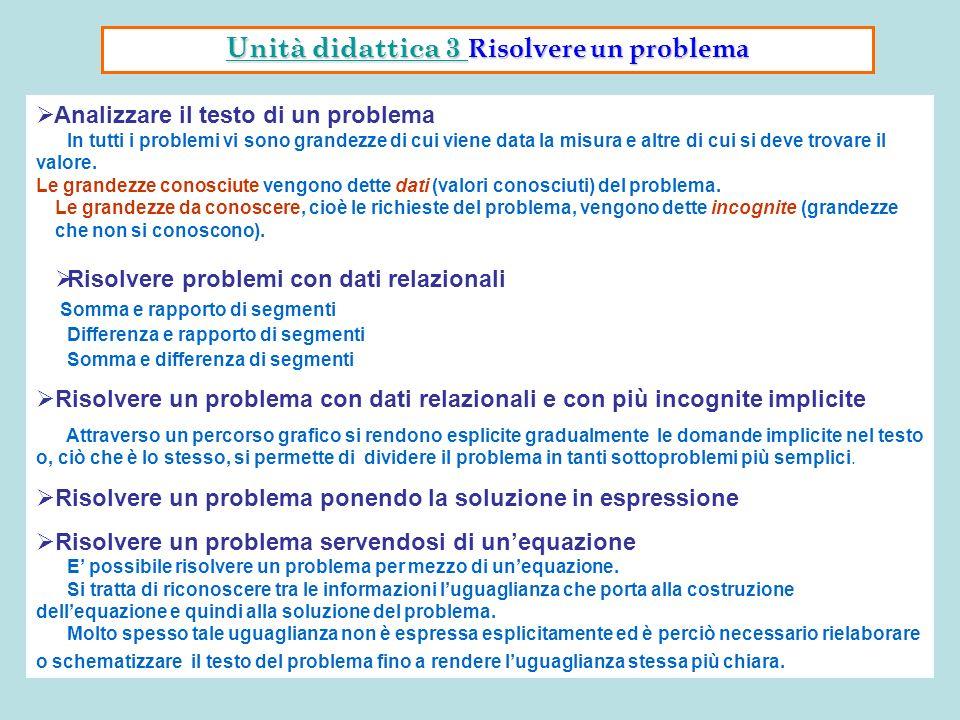 Analizzare il testo di un problema In tutti i problemi vi sono grandezze di cui viene data la misura e altre di cui si deve trovare il valore. Le gran