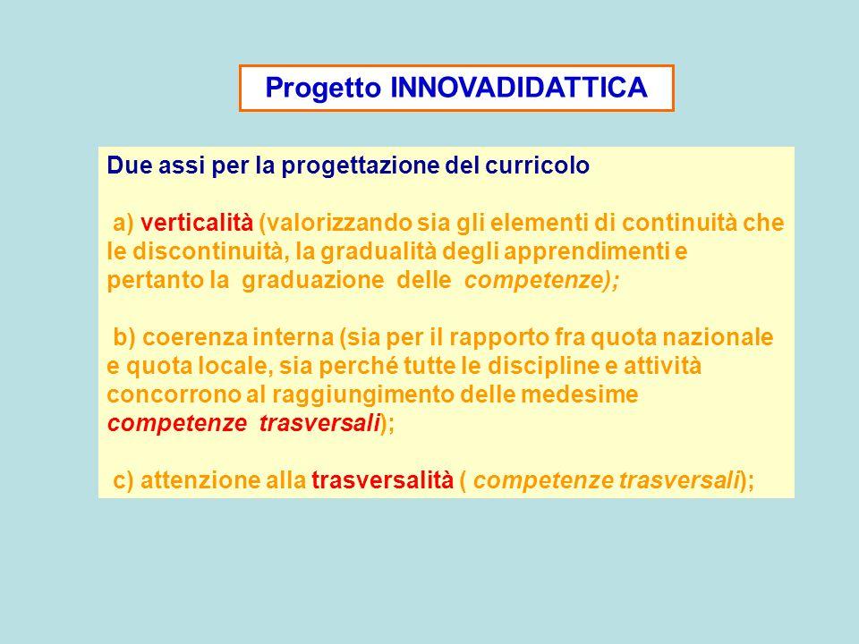Progetto INNOVADIDATTICA Due assi per la progettazione del curricolo a) verticalità (valorizzando sia gli elementi di continuità che le discontinuità,